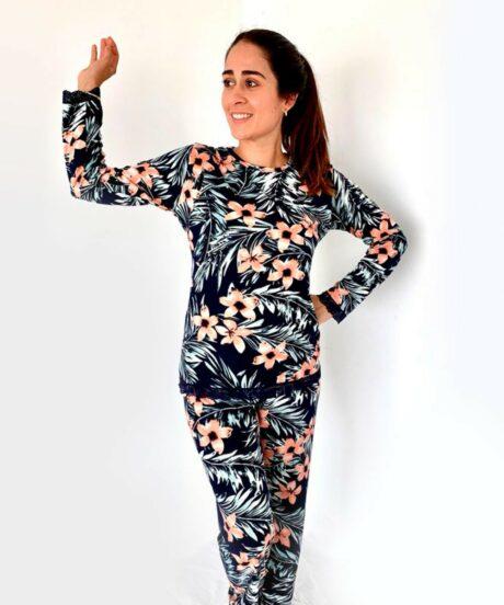 Pijama para dama Conjunto Azul y Melón