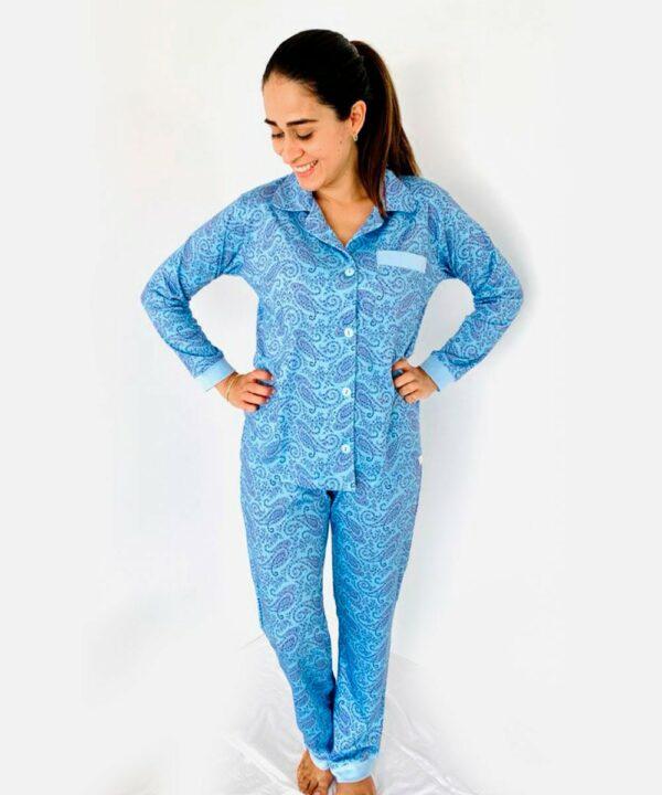 Pijama conjunto flores celeste