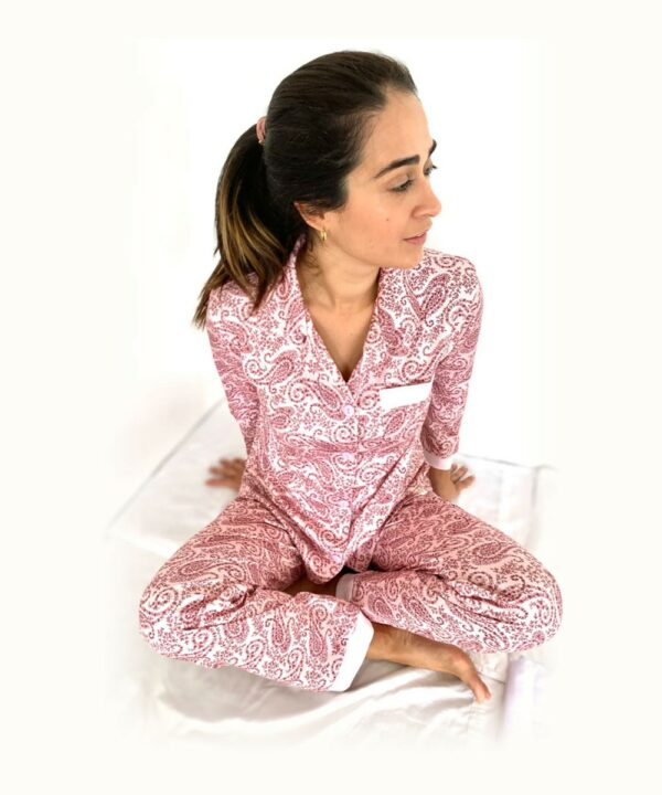 Pijama conjunto flores rosado